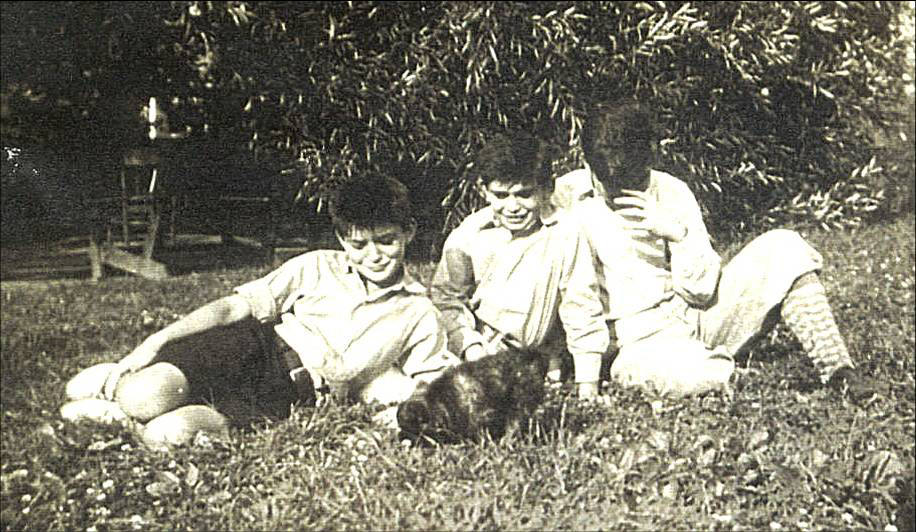 Eight-year-old Vincent with his two brothers and dog